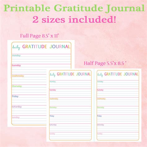 printable gratitude journal pages printable gratitude journal
