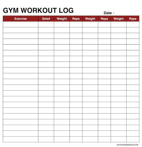 personal workout template workout log templates work out sheet powerful capture plus