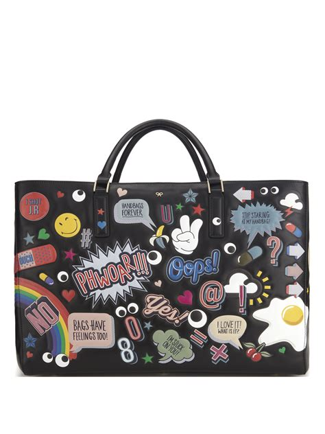 Fossil Tote Sticker anya hindmarch ebury maxi wink sticker leather tote in