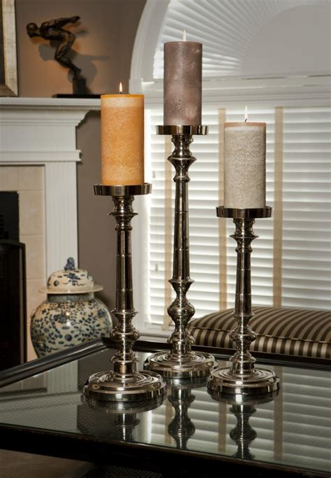 pillars for home decor nickel finish pillar candleholder small home decor 52 46