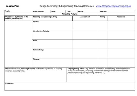 dt engineering resources lesson plan template dt engineering teaching resources