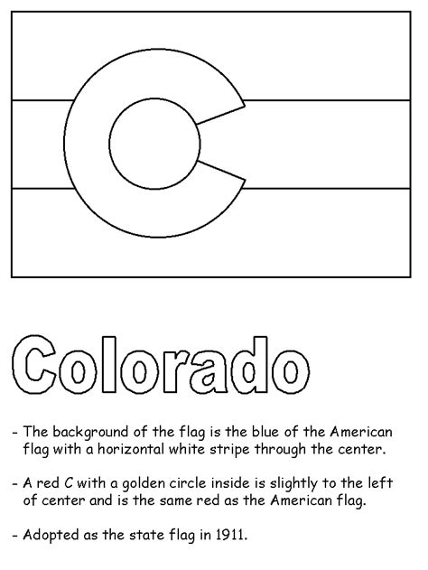 Free Colorado State Seal Coloring Pages Colorado State Flag Coloring Page