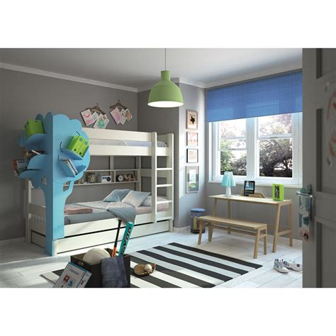 bunk bed with bookcase bunk bed with tree bookcase in white blue