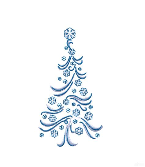 snowflake christmas tree embroidery design