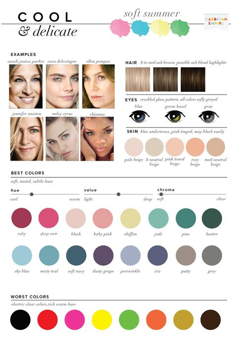 soft summer color palette best worst colors for summer seasonal color analysis