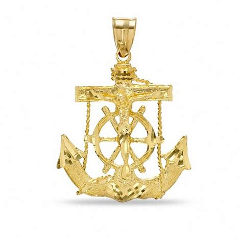 Get Kidmans Look A Gold Anchor Charm Necklace by Cut Mariners Cross Charm In 10k Gold View All