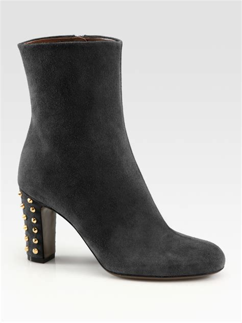studded ankle boots gucci jacquelyne studded suede ankle boots in black lyst