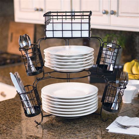 Giftburg 7 Piece Stackable Buffet Caddy Fruit Food Plate Buffet Caddy Plate Flatware Organizer
