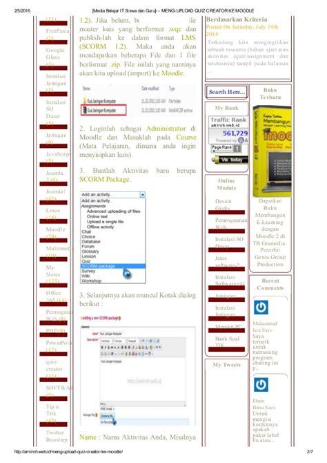moodle theme builder upload quiz creator ke moodle