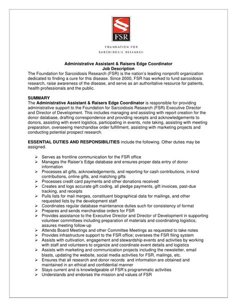 administrative coordinator description sle fsr admin raiser s edge coordinator description 7 9 12