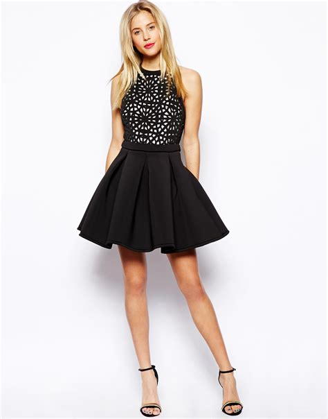 Dress Mini Vb Premium asos premium cutwork skater dress in black lyst
