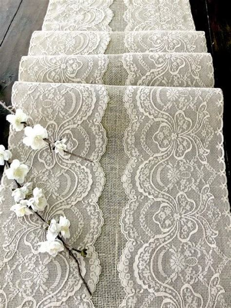 Handmade In The Usa - wedding table runner with beige lace rustic chic wedding