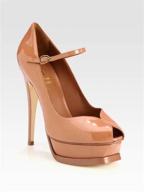yves laurent high heels laurent ysl tribute patent leather platform pumps in
