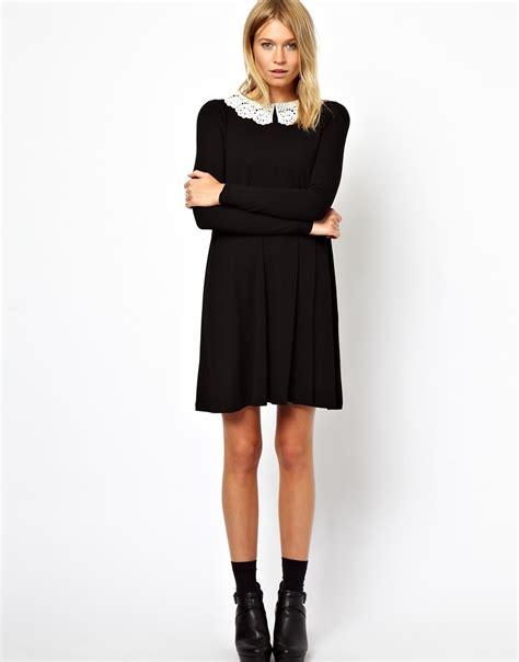 Asos Crochet Strapless Dress lyst asos swing dress with crochet collar and