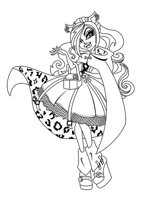 monster high halloween printable coloring pages clawdeen wolf monster high coloring pages for kids