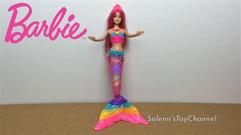 barbie rainbow lights mermaid doll barbie rainbow lights mermaid doll toy unboxing playtime