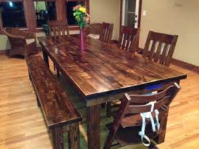 Staining Dining Room Table 8 Farmhouse Table In Vintage Walnut Stain Rustic Dining Room Other Metro