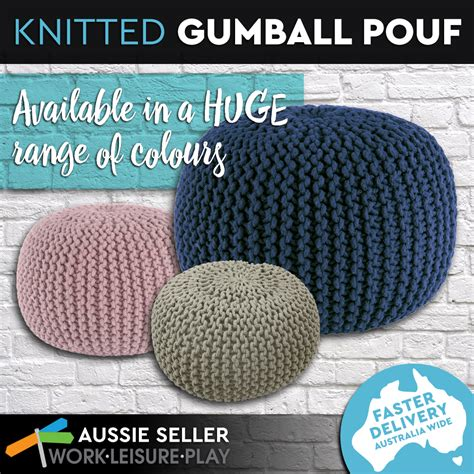 Knitted Gumball Ottoman Pouf Ottoman Footstool Poof Knitted Gumball Foot Rest 20 Assorted Colours Ebay