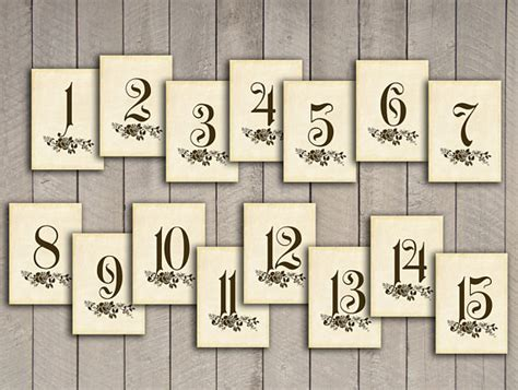 free printable vintage numbers items similar to vintage wedding 25 table numbers