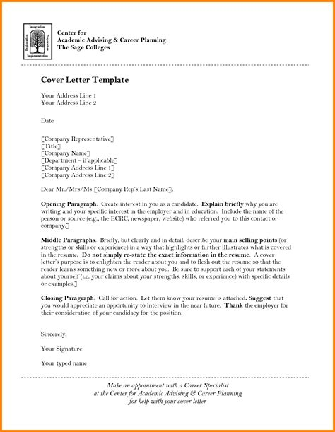 College Advisor Cover Letter by 6 Academic Advisor Cover Letter Letter Format For