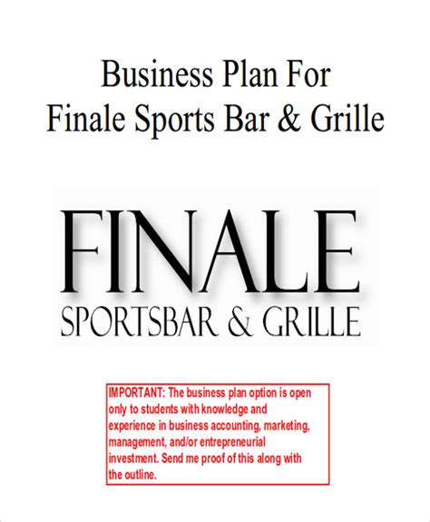 7 sle bar business plans exles in word pdf