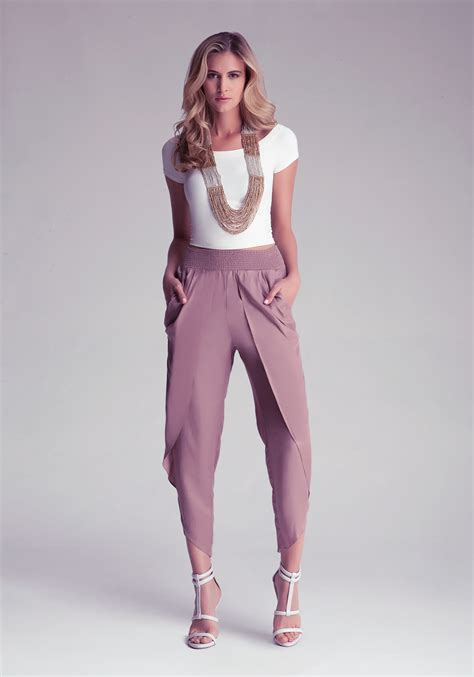 draped harem pants lyst bebe darling draped harem pants in brown