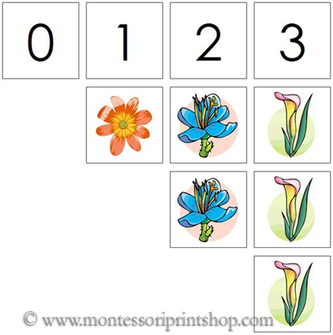 printable montessori number cards 0 to 10 numbers counters flowers printable montessori