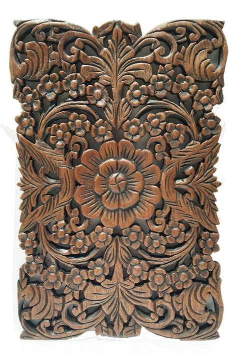 wood wall decor lotus flower home decor decorative wall panel sculpture carved