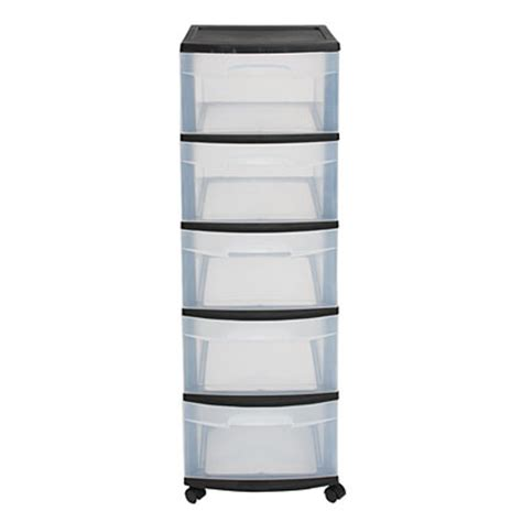 sterilite black 5 drawer cart big lots