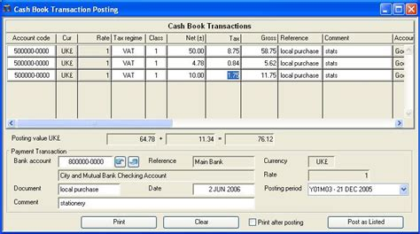 book transaction posting
