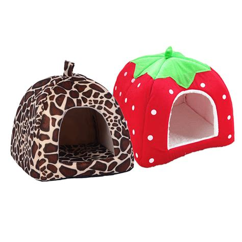 strawberry dog house pet cat house foldable soft winter leopard dog bed strawberry cave dog house cute