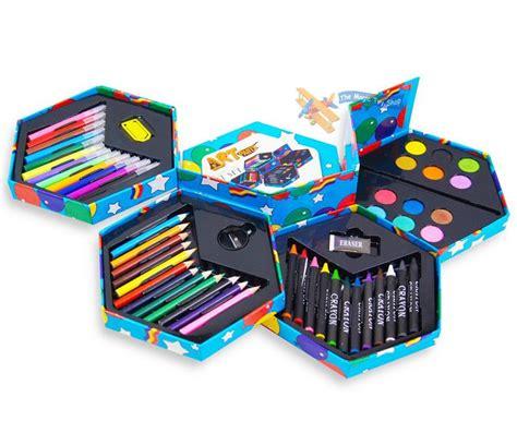 arts and crafts set for childrens 52 pcs craft artists set hexagonal box