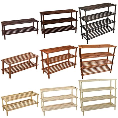 wood shoe rack 2 3 4 tier shoe rack slated oak walnut wood