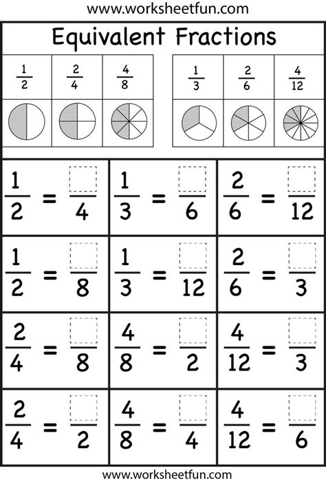 Equivalent Fractions Worksheets 4th Grade by Fourth Grade Equivalent Fractions Worksheet Search