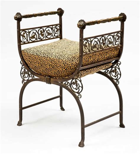 wrought iron benches savonarola bronze wrought iron hall bench