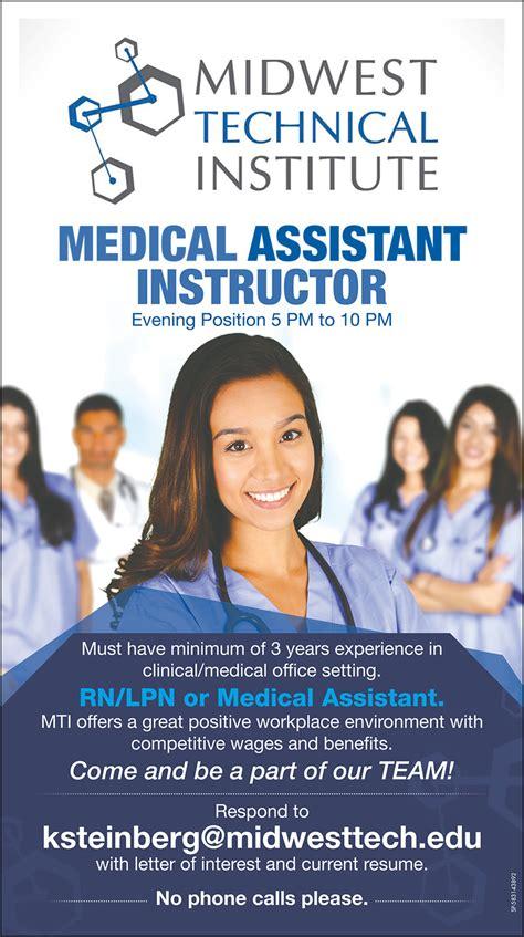 sjr jobs medical assistant instructor