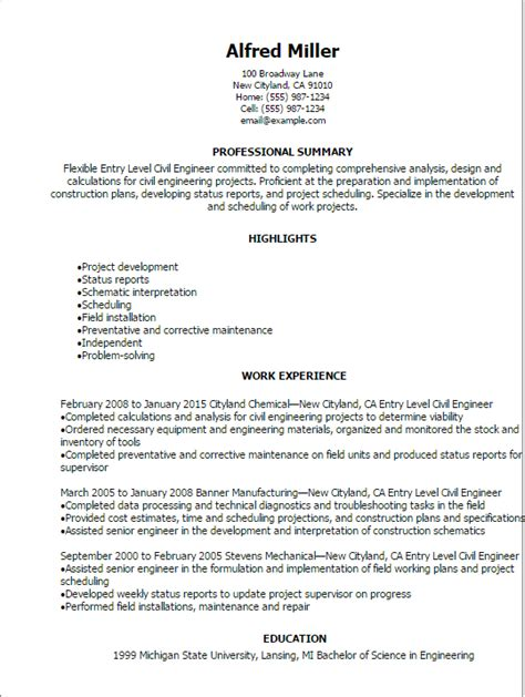 Resume Objective Entry Level by Professional Entry Level Civil Engineer Resume Templates