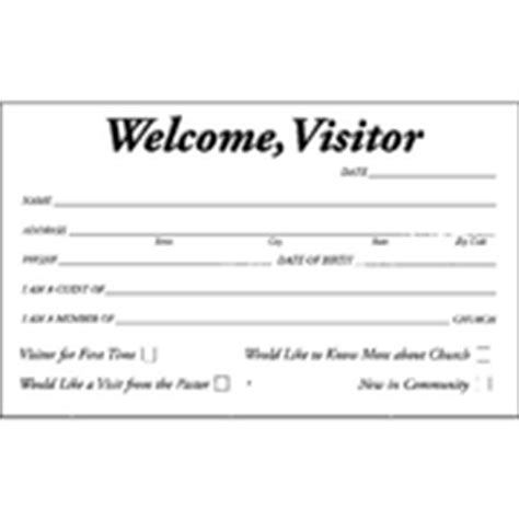 Church Attendance Cards Template by Free Church Visitor Card Templates