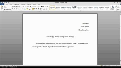 College Essay Set Up tutorial how to set up your college essay