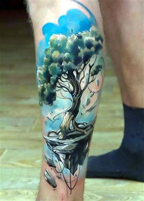 calf tattoo family tree colorful tree on calf tattoo idea