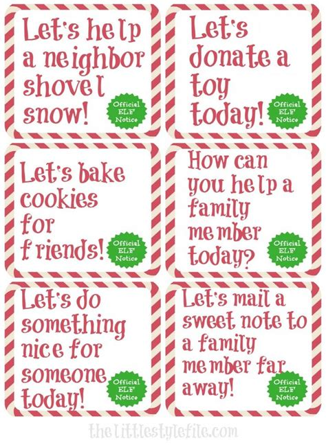 printable kindness elf ideas 17 best images about christmas elf on a shelf on