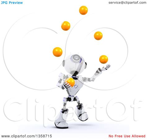 juggler 3d pattern clipart of a 3d futuristic robot juggling balls on a