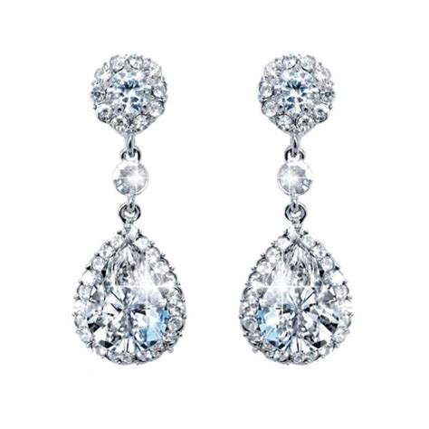 Floral Dangle In 14k With Silver And Clear Cubic Zirconia P 278 faith wedding silver tone flower cz pave dangle earrings clear austrian a08701