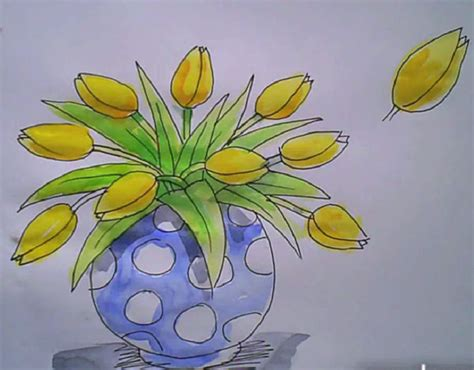 how to draw a vase of tulips this that