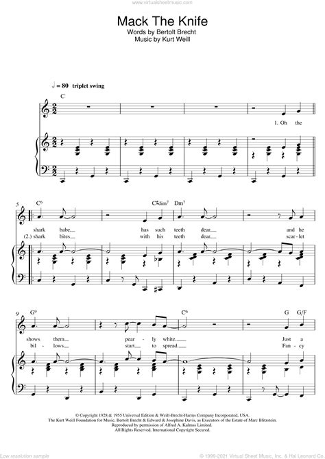 Williams - Mack The Knife sheet music for voice and piano