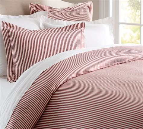 red and white striped comforter thatcher ticking stripe duvet cover sham pottery barn