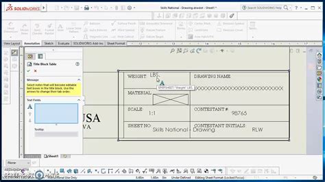 solidworks tutorial title block table anchors title block and sheet format in solidworks