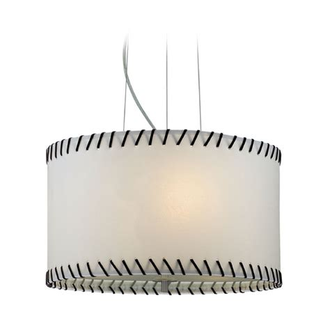 Paper Pendant Ls Modern Drum Pendant Light With White Paper Shade In Polished Steel Ls 18858 Destination Lighting