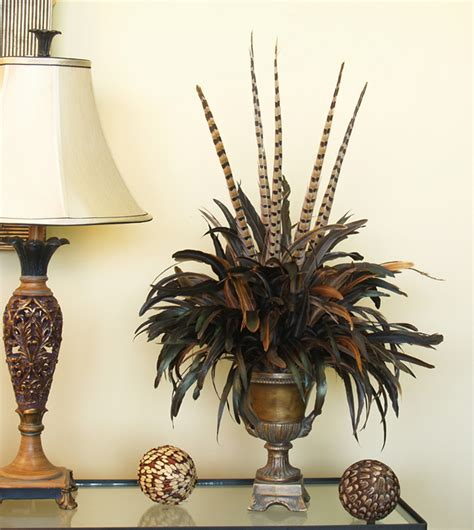 fall centerpieces with feathers elegant feather bouquet floral design in urn nc123 79