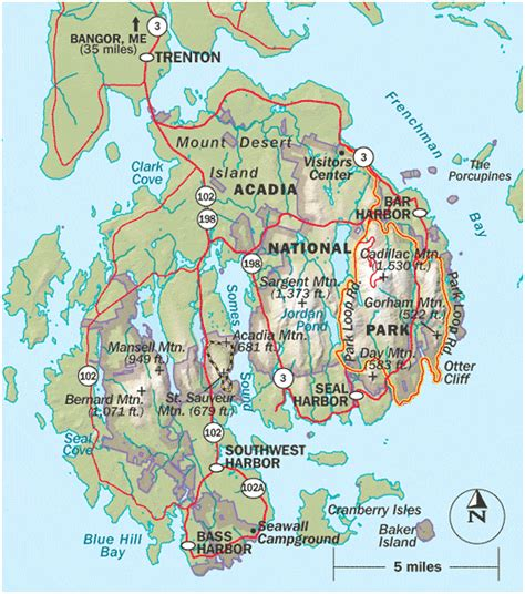 acadia national park map sauv ss map over60hiker